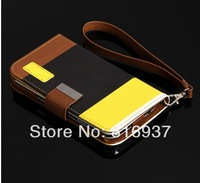 S4 Luxury Wallet Stand Design Leather Case for Samsung Galaxy S3 S4 i9500 SIV Mobile Phone Bag Flip Cover  Free shipping