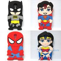 Free Shipping Cute Hero Series Batman Superman Spider-Man Wonder Woman  Silicone Soft Case  For Samsung Galaxy S4 mini i9190