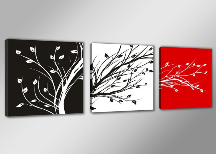 Black white red tree 3 panels set hd canvas print painting - Salon blanc noir et rouge ...