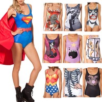 New 2014 sexy Bikini S Bodysuit SUPERMAN CAPE SUIT WONDER WOMAN CAPE SUIT THE BATMAN SWIMSUIT Digital Printing Swimwear Women