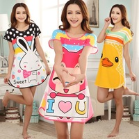 Summer sexy sleepwear female cartoon nightgown female short-sleeve princess plus size lounge