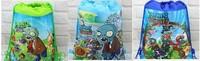 factory price Free shipping 2pcs/lot Plants vs zombies Bag-woven fabrics Kid's School bag 34X27CM,part gift