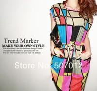 New 2014 Fahion Women's Winter Dress Colorful Vestidos Grid Geometric  Print Dress Chiffon Sleeveless Casual Dress Plus Size