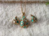 2014 Fashion necklace Earrings Set jewelry sets wholesale water drop earring necklace set drop oil rhinestone jewelry