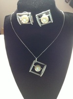 Fashion pearl rhinestone necklace Earrings Set jewelry sets wholesale