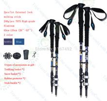 2pcs/lot 240g/pcs external lock Trekking pole hike telescope stick nordic walk cane carbon fiber aluminum ski camp Free shipping(China (Mainland))