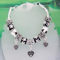 PA1276 -  / DIY Bracelets Black vintage style heart pendants long Bracelets for women DIY Jewelry Wholesale Jewellery