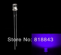 100pcs 3mm Flat Top Ultra Bright UV Purple LED Lamp