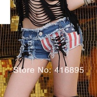 Hot Pants Vintage Hipster American Flag Star Printed Jeans Hollow out Sexy Club Short Shorts Denim Low Waist 5020214