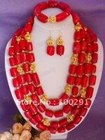 F 2015   :Handmake New Design Four Row Drum Bead Coral Flower necklace bracelet earring custome ladies jewelry set