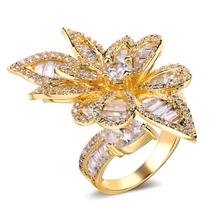 New Look  Woman Luxury Flower Shape wedding rings Top Grade Zirconia Crystal Nickel Free Plating Propose Marriage Gift
