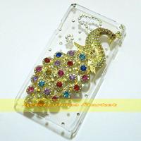 1 Pcs Handmade Bling Peacock Clear Hard back case For LG Optimus L9 II D605