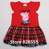 New Summer Baby Girls Christmas Clothing Kid Short Sleeves Dress Winter Romper Outfits Jumpsuit Girl Red Dress For Peppa Pig