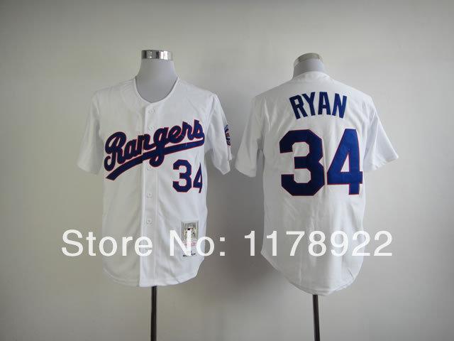 texas rangers jersey #34 Nolan Ryan Jersey white Authentic Throwback Baseball Jerseys 100% Embroidery Mix Orders(China (Mainland))
