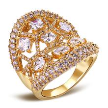 Latest Tread Woman Luxury Flower Shape wedding rings Top Grade Zirconia Crystal Nickel Free Plating Propose