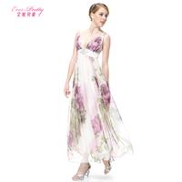2014 Plunge V-neck Sexy Floral Printed Long Casual Dress/ Prom Dress double-shoulder deep V-neck elegant evening dress