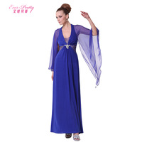 2014 fashion navy blue ruffled pleated sleeve chiffon full dress halter-neck evening dress