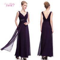 2014 evening dress elegant purple sleeveless double-shoulder deep V-neck dinner installed long design evening dress