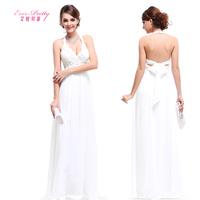 2014 fashion formal dress elegant white chiffon evening dress halter-neck deep V-neck sexy evening dress
