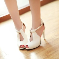 2014 summer high-heeled sandals female strap sexy nude color heels thin sandals women's open toe plus size sandals