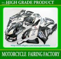 High grade west black white Fairings for 2007 2008 Kawasaki Ninja ZX6R zx-6r ZX 6R 07 08 RX2c 2C