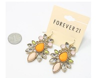 European style fashion high quality natural semi-precious stones inlaid acrylic flower pendant earrings C85