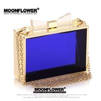 free shipping 2014 new Fashion women's handbag fashion acrylic chain bag transparent box bag