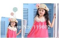 Summer models of child hat baby bucket hats girls flower hat beach hat parent-child cap HAT004-1