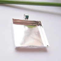 Min.order is $19 (mix order) 1 inch Square Pendant /Pendant Blank/Pendant Setting/Sterling silver plated,25.4MM