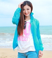 2014 long-sleeve sun protection clothing waterproof outdoor ultra-thin Women short jacket beach clothes
