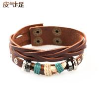 Lo yin Bracelet male fashion bracelet male multi-layer vintage bracelet cowhide bracelet