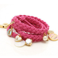 2116 suede leather spirally-wound style multi-layer pearl pendant of love fashion leather cord knitted bracelet female jewelry