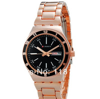 New arrival brand luxury CURREN men full steel watch Unisex Stylish Round Analog Quartz Watch with Calendar (Rose Gold) freeship