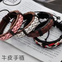 Lo yin Fashion male bracelet trend bracelet cowhide rope handmade knitted women's bracelet 1343