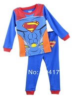 Free shipping retail 100% cotton baby long sleeves pajamas sets,superman spider man children clothing kids sleeping wear,