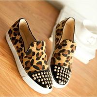 2014 Women's leopard Flats print elastic casual shoes women's shoes rivet fashion women's flat