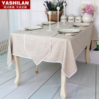 Solid color luxury fashion quality rustic tablecloth coffee table rectangle dining table cloth fluid table runner