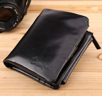 New Luxury Genuine Leather Wallet Men's Bifold Trifold Purse ID Card Holder Clutch Black Brown Free Shipping