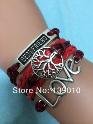Hot Sale Wholesale Slider Charm Bracelet Silver Plated Fashionable Women Leather Rope Best Friend LOVE Tree