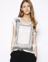 2014 spring and summer women hit color printing loose round neck short sleeve T-shirt free shipping