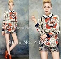 2014 new fashion unique design fancy women retro floral with button cotton chiffon casual ladies long sleeve tops blouse shirt