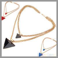 Vintage Women's Fashion Geometric Triangle Pendant Double Dual Necklace & Pendants