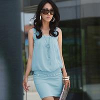 100% Cotton Fold neck package hip OL commuter knit vest dress 2014 Summer Women's Mini Dresses Drop Shipping D001