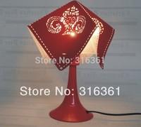 Lovely desk light Velvet leather carving patterns+ Acrylic sheet +Metal base room light drop shipping!!!
