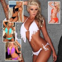2014 Rushed Solid Nylon Swimsuits Biquines Biquinis Women Free Shipping Victoria Swimwear Hot Sexy Beach Bikini Tassel Dyyy-0255