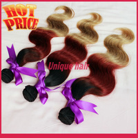 1B #33 #27 Three Tone Peruvian Ombre Hair Body wave 3pcs Lot Queen Hair Products Virgin Human Hair Extensions