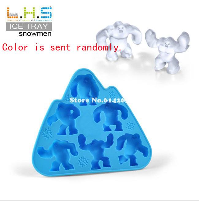 Free Shipping! Snowmen Ice Cream Cube Tray Mold Maker Silicone Novelty Ice Cube 10PCS/lot TM13028(China (Mainland))