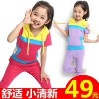 2014 female child summer clothing set p child girl casual short-sleeve sports set