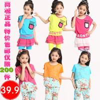 Children's clothing female child 2014 summer child set short-sleeve twinset piece set
