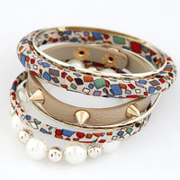 Min. order is $15 Fashion hot sale Metal Leather bangles Set Beads Punk Bracelets Casual Jewelry Set  with free shipping. BA119